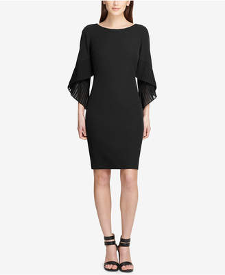 DKNY Pleated Bell-Sleeve Sheath Dress