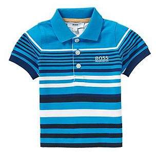 HUGO BOSS Striped newborns' polo shirt in stretch cotton with textured detailing: 'J05444'