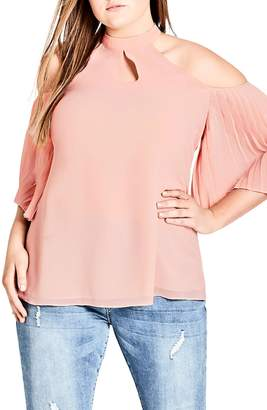 City Chic Pleated Cold Shoulder Top