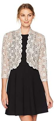 R & M Richards R&M Richards Women's 1 Piece Laced Shrug with Sequins Missy in agne
