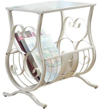 Monarch Specialties Antique White Metal Magazine Table with Tempered Glass