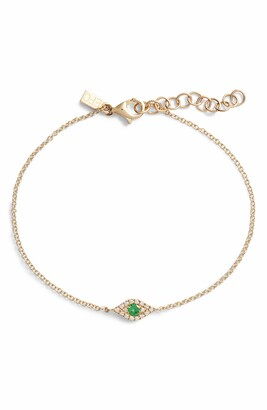 Ef Collection Evil Eye Diamond & Tsavorite Line Bracelet