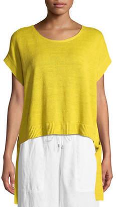 Eileen Fisher Organic Linen Side-Tie Short Poncho Top, Petite