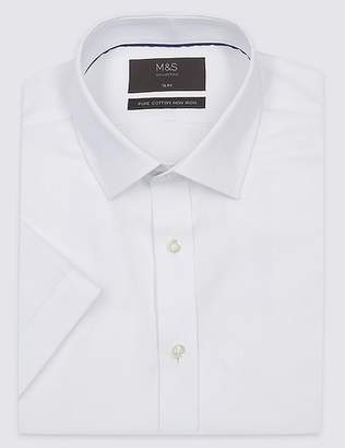 Marks and Spencer Short Sleeve Non-Iron Twill Slim Fit Shirt