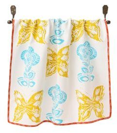 Potato Print Dishtowel, Yellow
