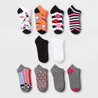 Xhilaration Women's Makeup 10pk Low Cut Socks Black/White/Pink One Size
