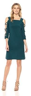 MSK Women's Knit Shift Dress with x-Sleeve Detail-Gold Grommets