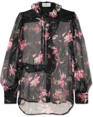 Preen by Thornton Bregazzi Elva Ruffled Floral-print Silk-chiffon Blouse - Black