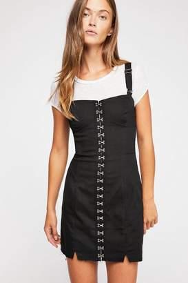For Love & Lemons Monika Denim Hook Front Mini Dress