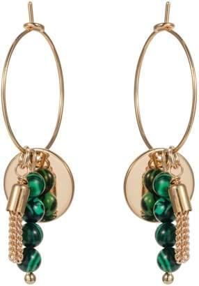 Nadia Minkoff - Hoop Cluster Semi Precious Earring Gold with Malachite