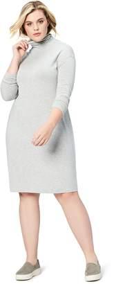 Daily Ritual Women's Plus-Size Long-Sleeve Turtle Neck Sweater-Knit Drop Shoulder Dress Dress
