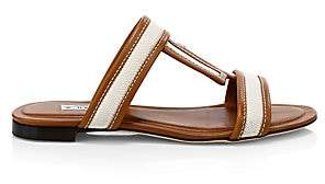 3e4a79f3f Tod s Women s Double T Leather Mule Sandals