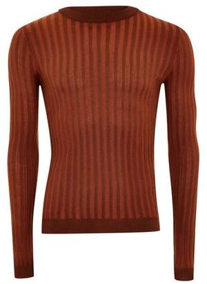 Topman Mens Brown Rust Plaited Jumper