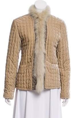 Etro Fox Fur Trimmed Velvet Jacket