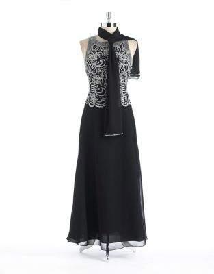 J Kara Petite Embroidered Column Gown