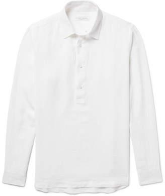 Orlebar Brown Ridley Slub Linen Half-Placket Shirt