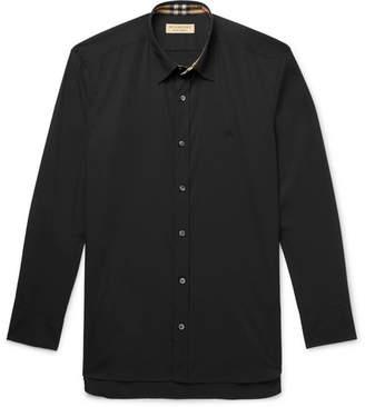 Burberry Slim-Fit Stretch-Cotton Poplin Shirt - Black