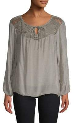 Le Marais Lace Long-Sleeve Silk Top