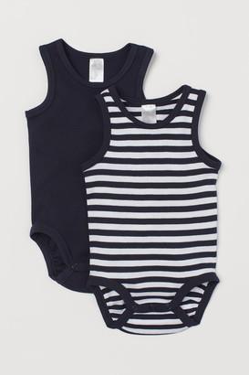 H&M 2-pack Sleeveless Bodysuits - Blue