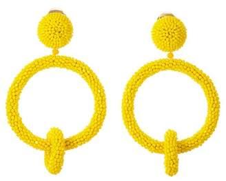 Oscar de la Renta Beaded Double Hoop Clip On Earrings