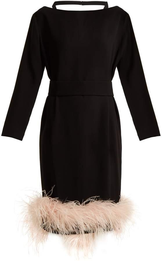 PRADA Feather-embellished crepe dress