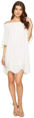 1 STATE 1.STATE Off Shoulder Embroidered Shift Dress Women's Dress