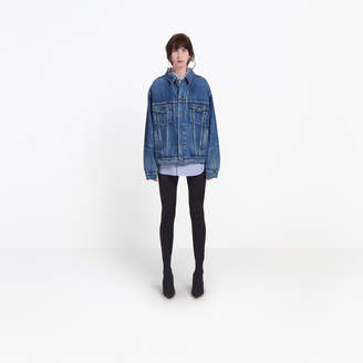 Balenciaga Boyfriend oversize jacket with printed logo at back
