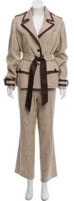 Valentino Silk-Blend Pant Suit Tan Silk-Blend Pant Suit