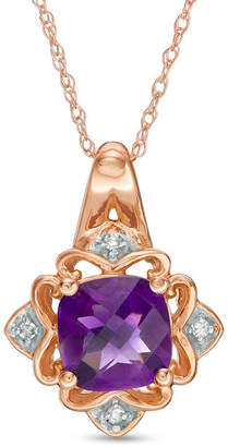 Zales 7.0mm Cushion-Cut Amethyst and Diamond Accent Art Deco Pendant in 10K Rose Gold