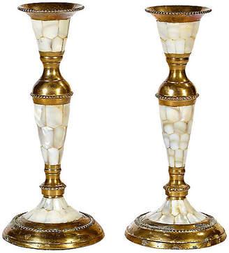 One Kings Lane Vintage Abalone & Brass Candleholders - Set of 2 - 2-b-Modern