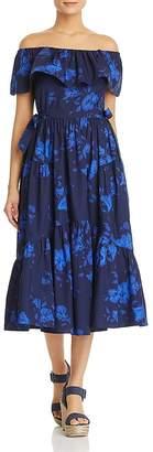 Kate Spade Hibiscus Off-the-Shoulder Midi Dress