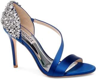 Badgley Mischka Women's Pauline Embellished Satin Crossover High Heel Sandals