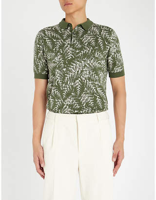 John Smedley Kimball leaf-patterned cotton polo shirt