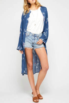 Gentle Fawn Floral Blue Duster