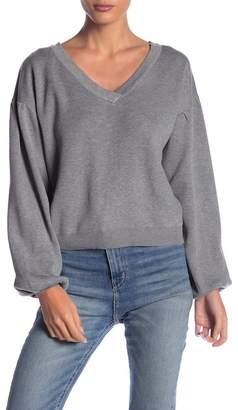 Poof V-Neck Blouson Sleeve Sweater