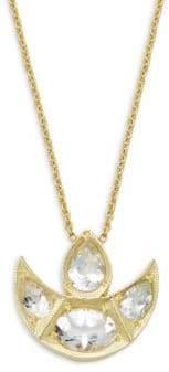 Amrapali Chandrima 18K Yellow Gold & White Topaz Crescent Pendant Necklace