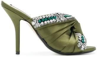 No.21 embellished knot stiletto mules