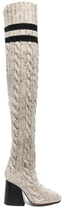 Knit Knee High Boots in Neutrals.