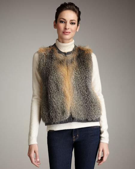 Neiman Marcus Fur-Front Cashmere Vest