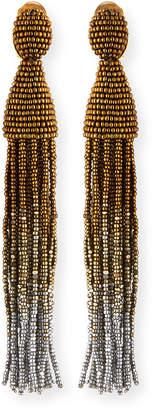 Oscar de la Renta Ombre Crystal Tassel Earrings