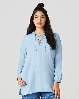 Fashion World Tie Front Soft Lyocel Denim Tunic