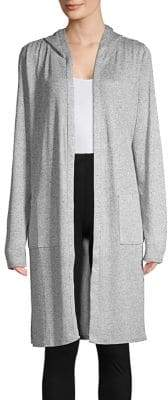 Andrew Marc Performance Heathered Hooded Duster Cardigan