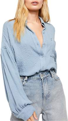 Free People Blouson Sleeve Button-Up Shirt