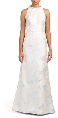 Brocade Gown With Cutaway Shoulder