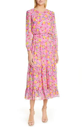 Saloni Isabel Fil Coupe Silk Blend Midi Dress