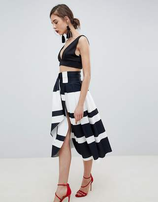 Asos DESIGN scuba wrap prom skirt with split and tie waist in stripe