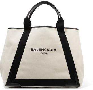 Balenciaga - Cabas Leather-trimmed Canvas Tote - Cream $965 thestylecure.com