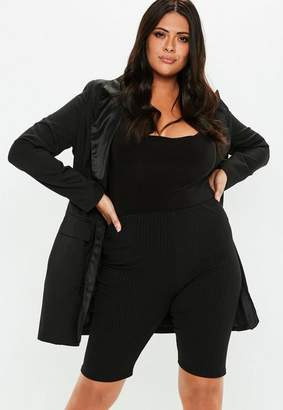 Missguided Curve Black Ribbed Biker Shorts