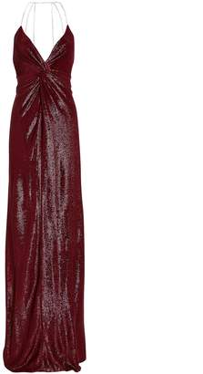 Mason by Michelle Mason Crystal Strap Shimmer Gown