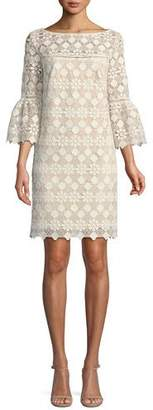 Trina Turk Quinn Bell-Sleeve Dress in Valencia Lace